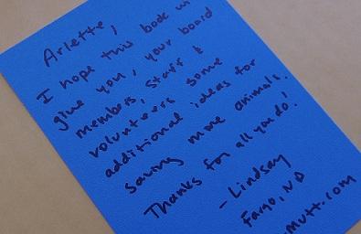 Letter to Grand Forks humane society