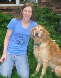 Golden retriever and woman wearing golden retriever shirt!