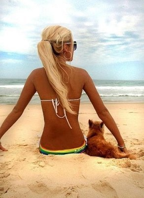 Bikini with her dog