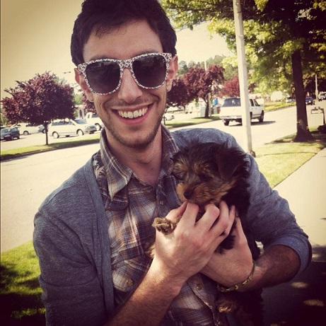 Aww, guy and his yorkie puppy