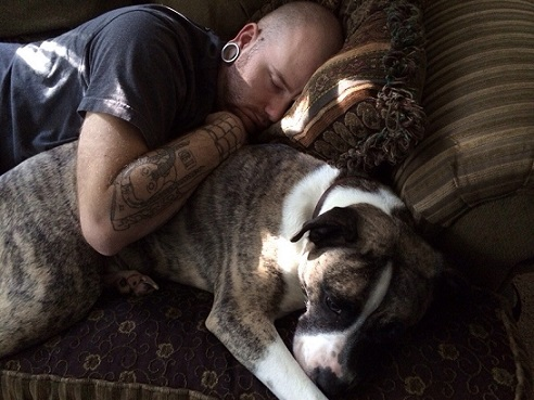 Guy and his white and brindle pitbull mix sleeping spooning
