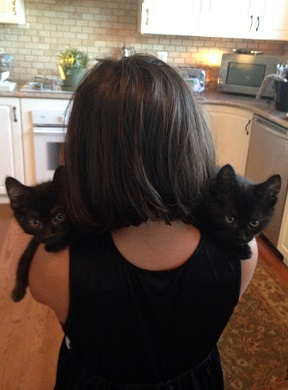 Woman holding two black cats