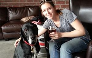 My dog Ace at dog friendly San Diego BeerWorks