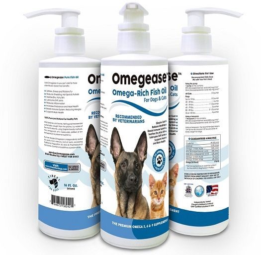 Natural fish oil for dogs cats omegease review for Dog food with fish oil