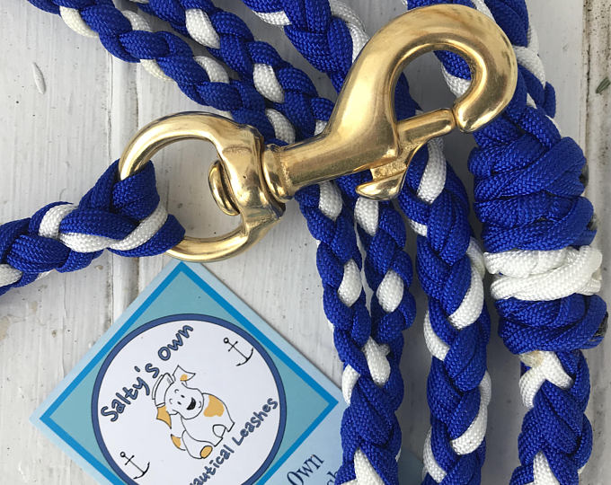 Braided paracord dog leashes from Salty's Own Nautical Leashes