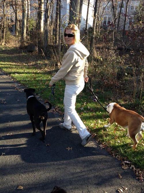 Me walking my pup Missy and Ada the bulldog