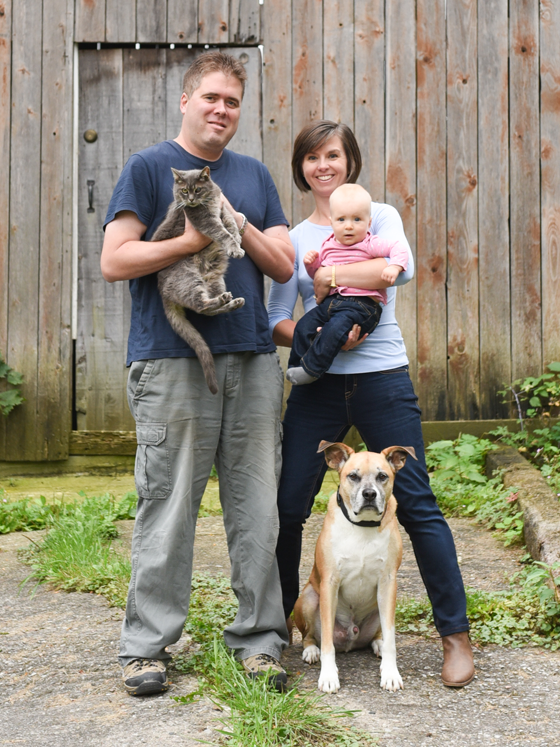 Family photo with our dog and cat