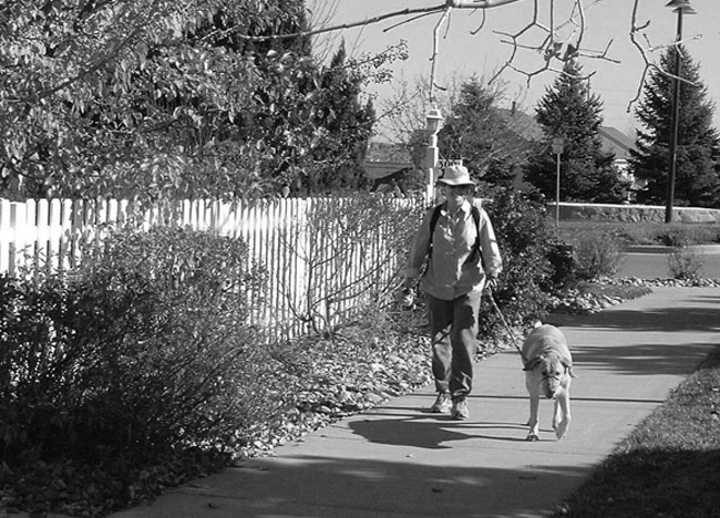 Volunteer walking a senior citizen's dog