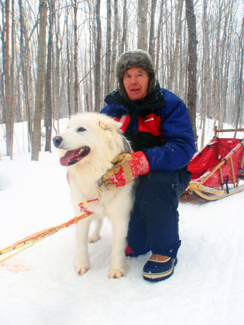 My Dad with a sled dog