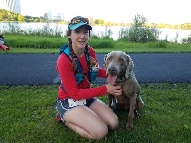 Road half marathon with a dog